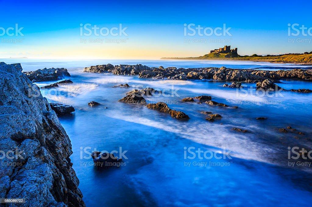 Bamburgh Castle, North East Coast of England stock photo