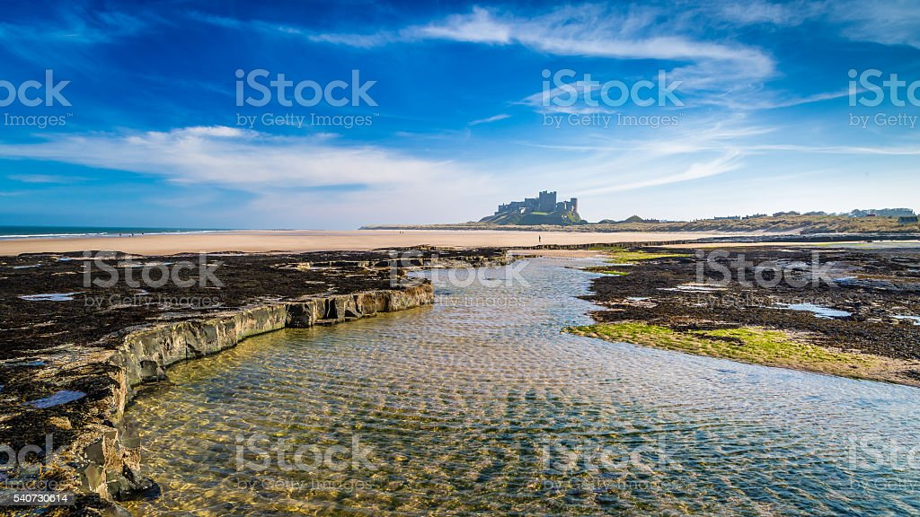 Bamburgh Castle on the Northumberland coast, England stock photo