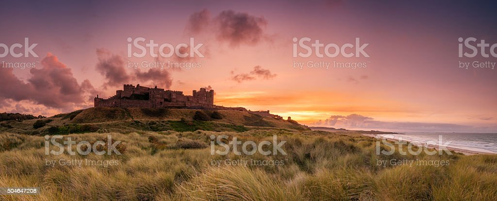 Bamburgh Castle Panorama stock photo