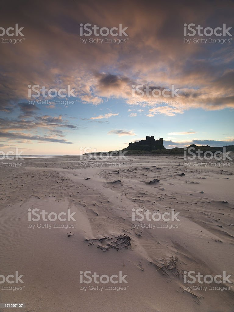 Bamburgh Castle Sunrise stock photo