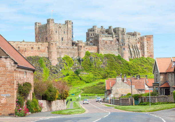 Bamburgh Village and Castle stock photo