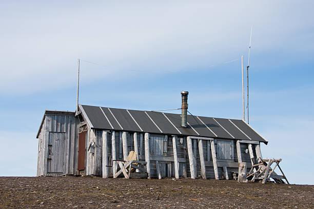 Bamsebu cabin in Bellsund, Spitsbergen stock photo