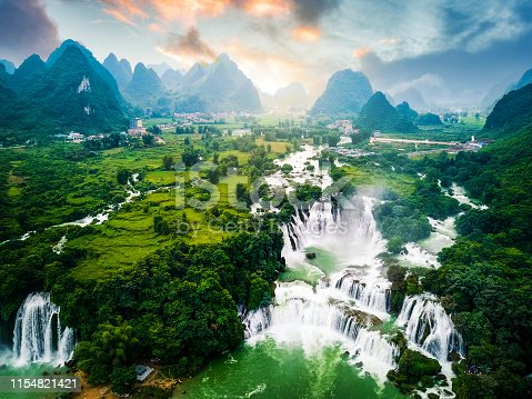 Ban Gioc Detian Waterfall landscape at the Border of China and Vietnam