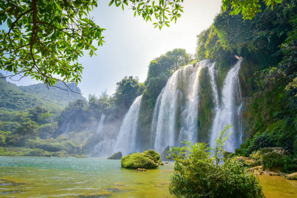 Ban Gioc Waterfall is one of Vietnam's best-known waterfalls stock photo
