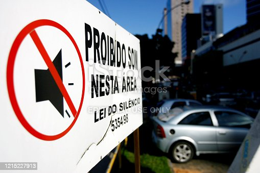 salvador, bahia / brazil - october 10, 2014: sign at gas station informs about automotive sound prohibition in the city of Salvador.