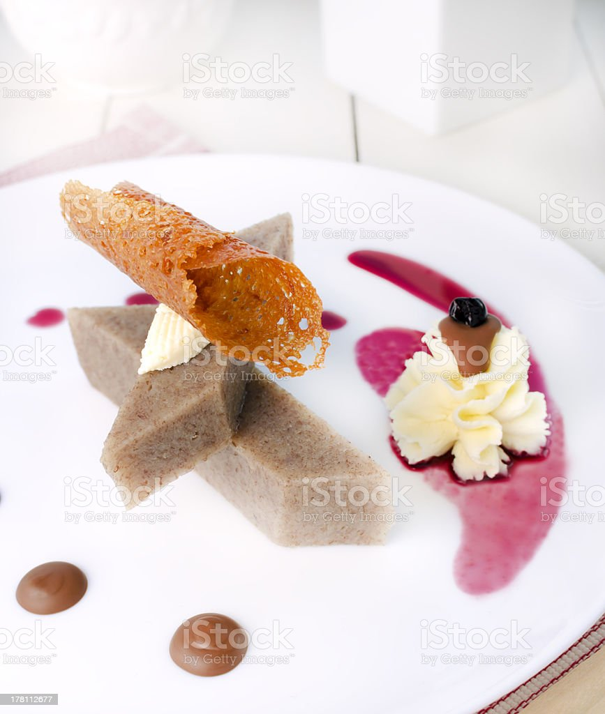 Banana Agar Jelly With Cream Cheese Frosting And Lemon Tuile royalty-free stock photo