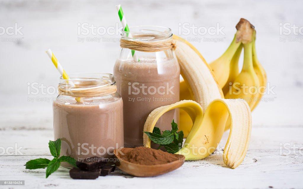 Banana and chocolate smoothie stock photo
