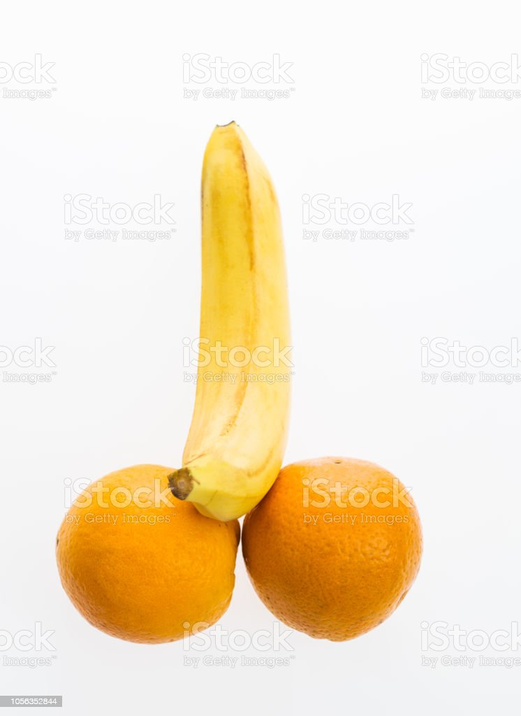 Banana And Two Oranges Isolated On White Background Stock ...
