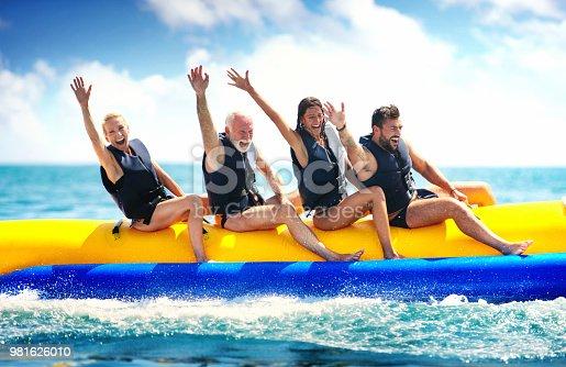 istock Banana boat fun. 981626010