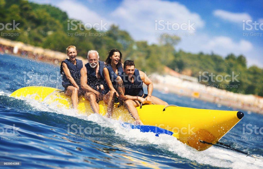 Banana boat fun. stock photo