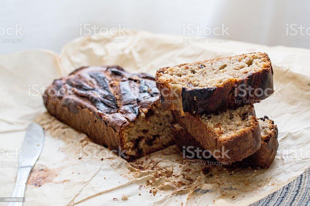 Banana bread and homemade Nut Bread stock photo