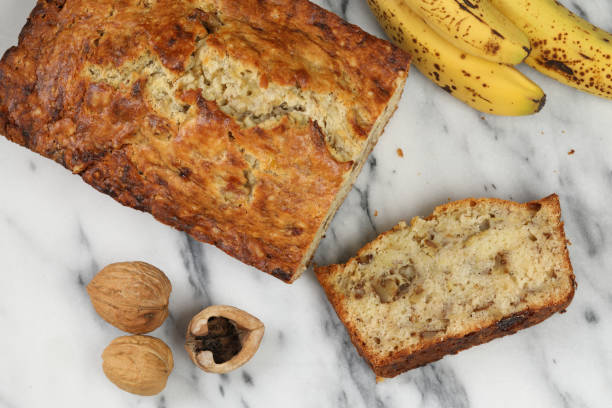 Banana Bread And Ingredients stock photo