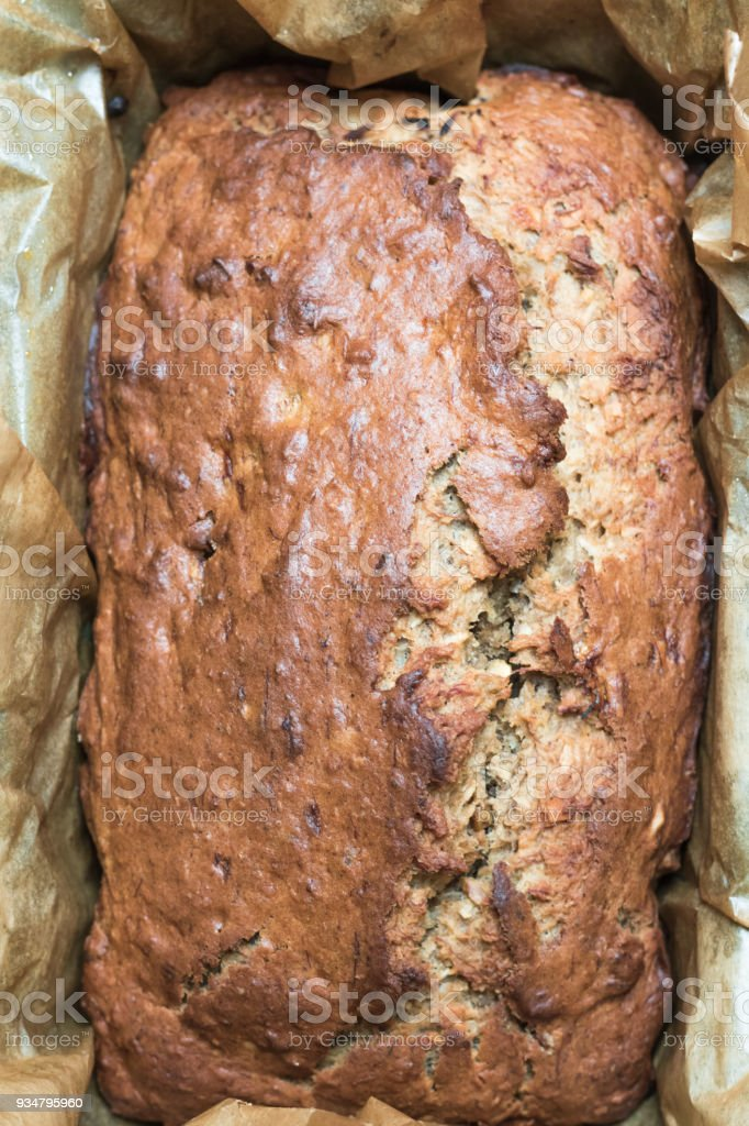 Banana bread freshly baked home stock photo