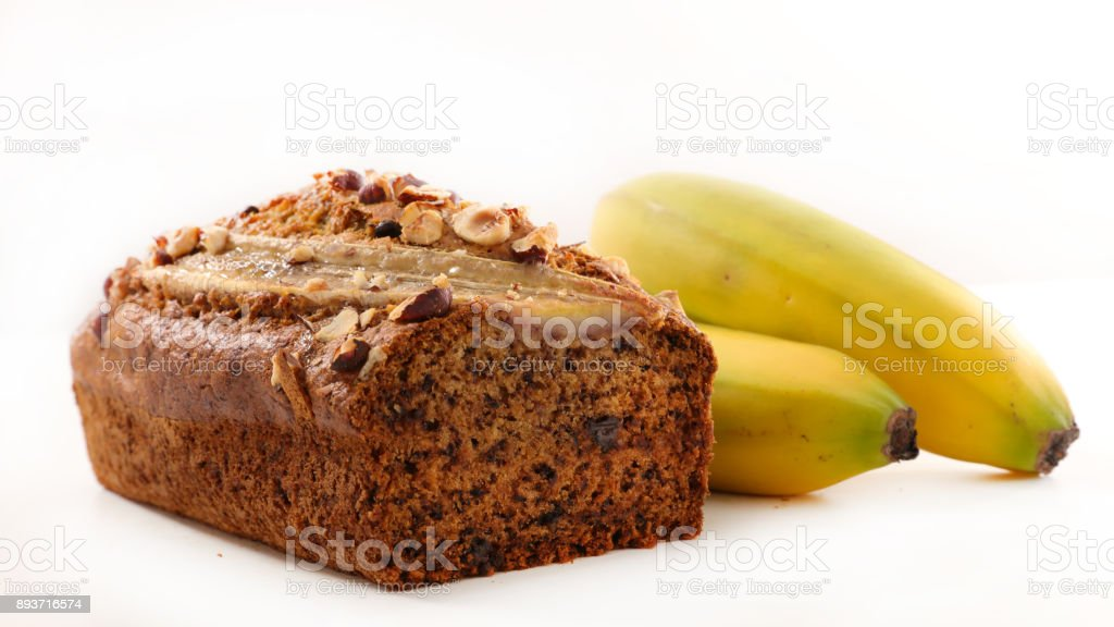 banana bread isolated on white stock photo