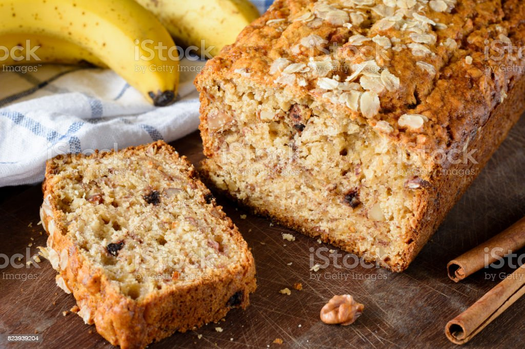 Banana bread loaf closeup view stock photo