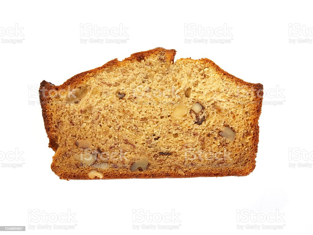 Banana Bread on white stock photo