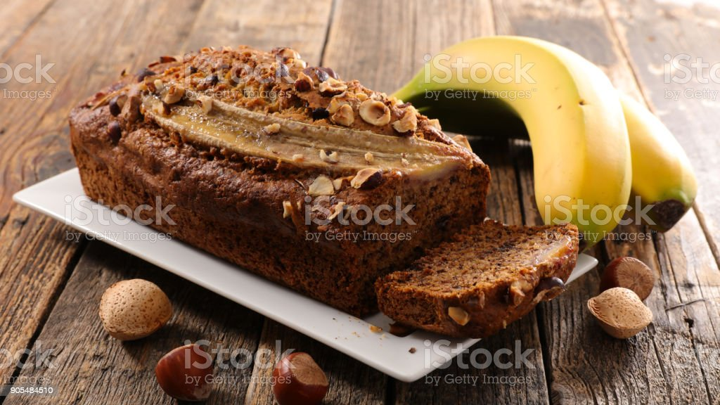 banana bread on wood background stock photo