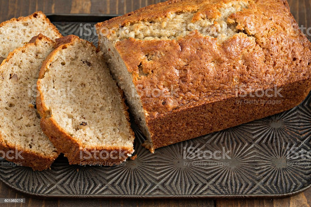 Banana Bread Sliced stock photo