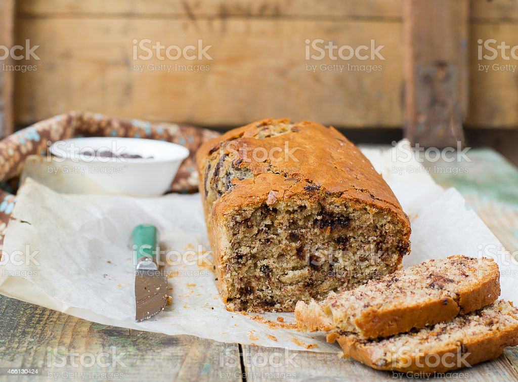 banana bread with chocolate stock photo