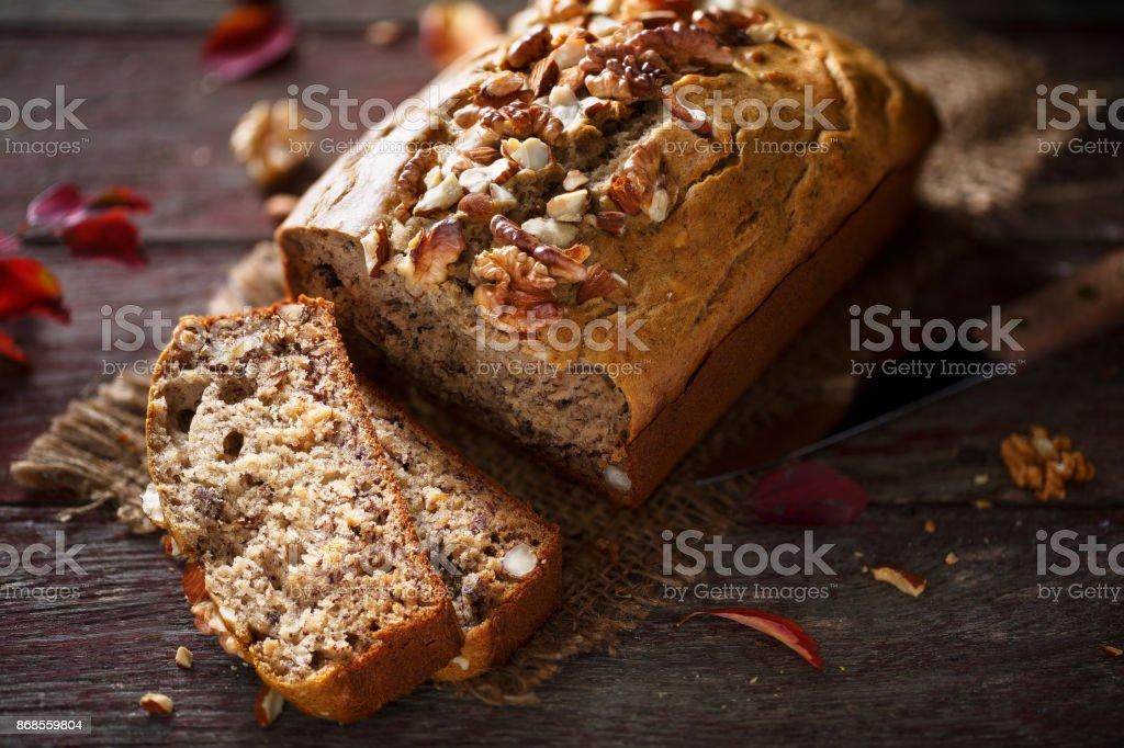 Banana bread with nuts stock photo