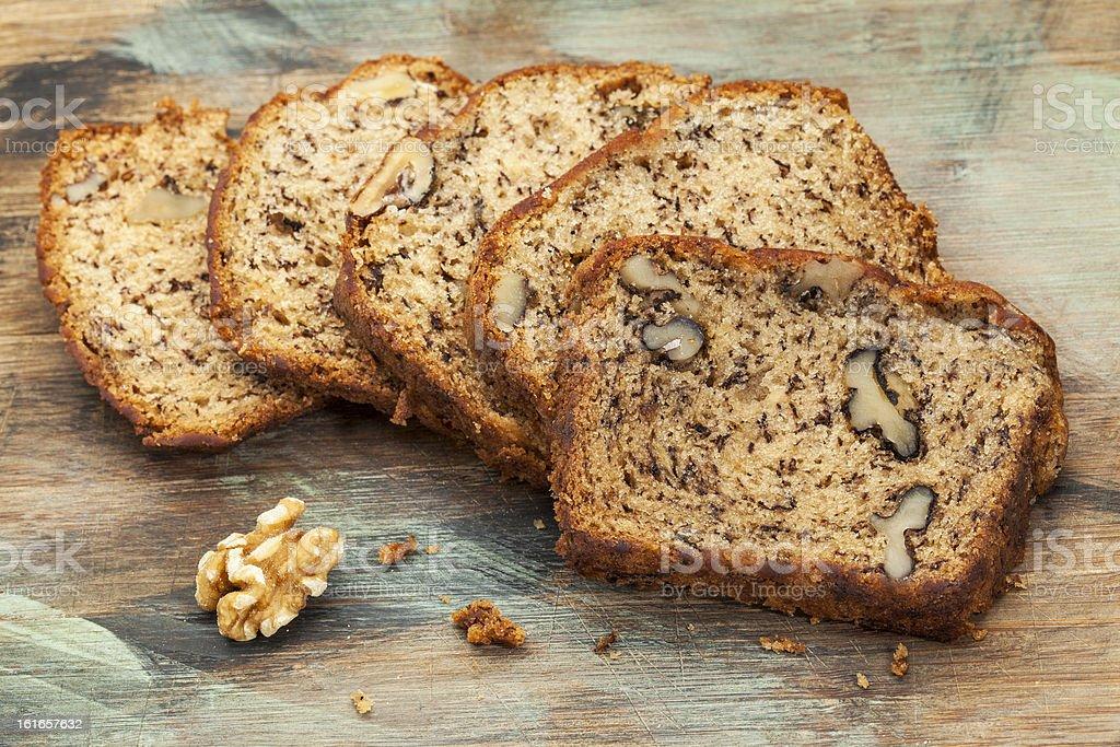 banana bread with walnut stock photo