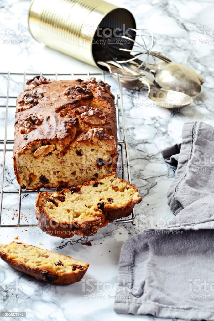 Banana Bread with walnuts and raisins stock photo