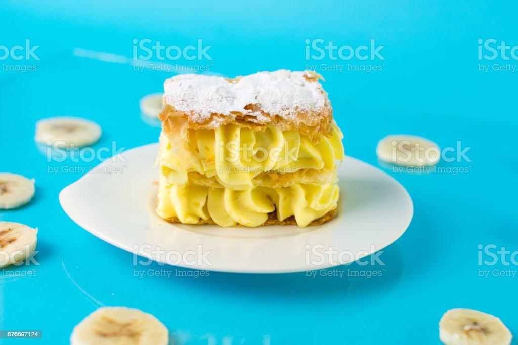 Banana cake in a plate stock photo