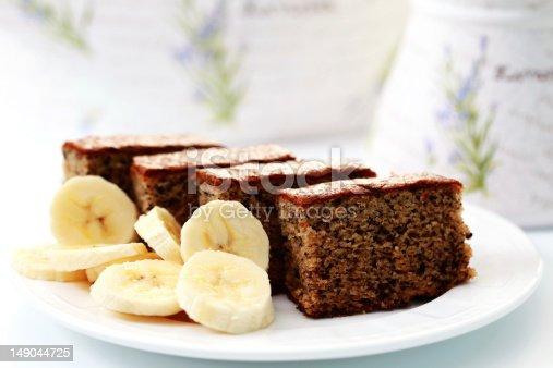 delicious banana cake with fresh banana - sweet food