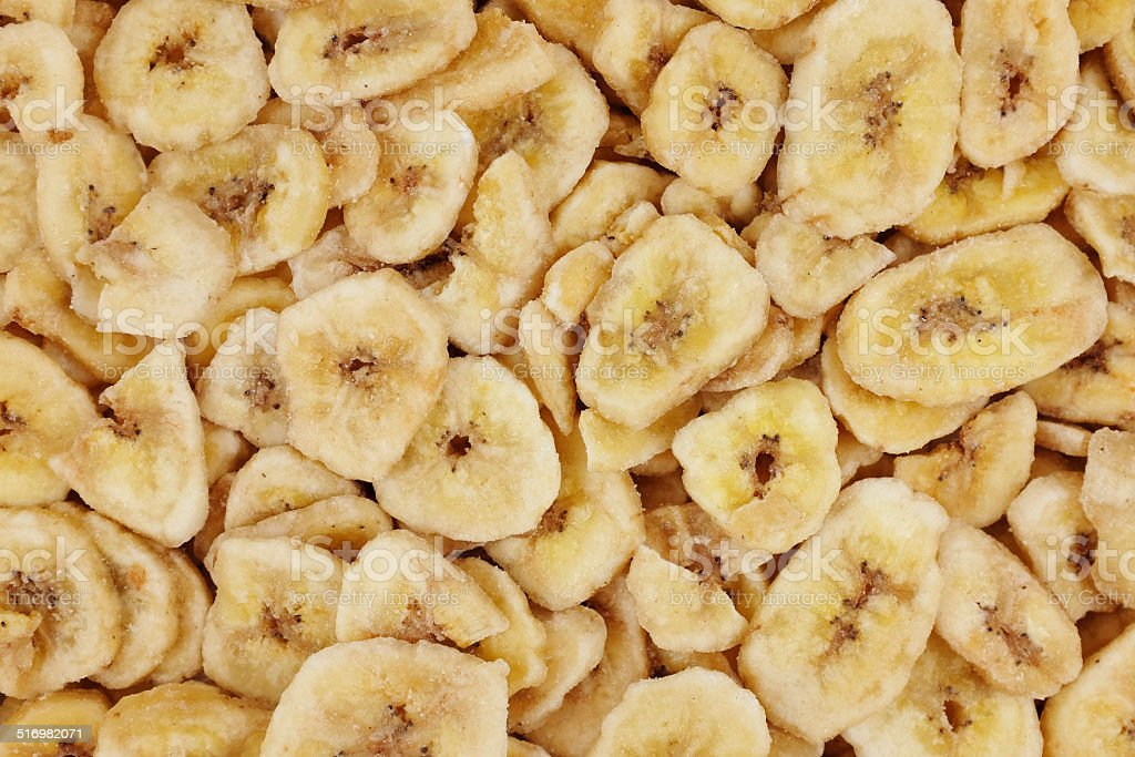 Banana chips abstract background texture stock photo