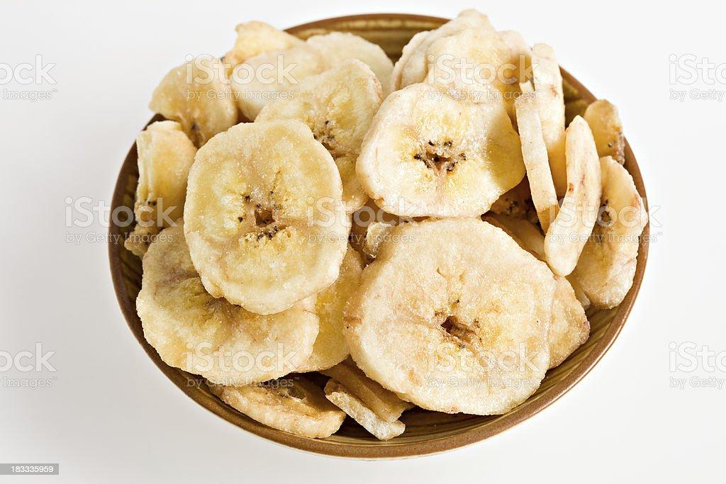 Banana Chips In Bowl stock photo
