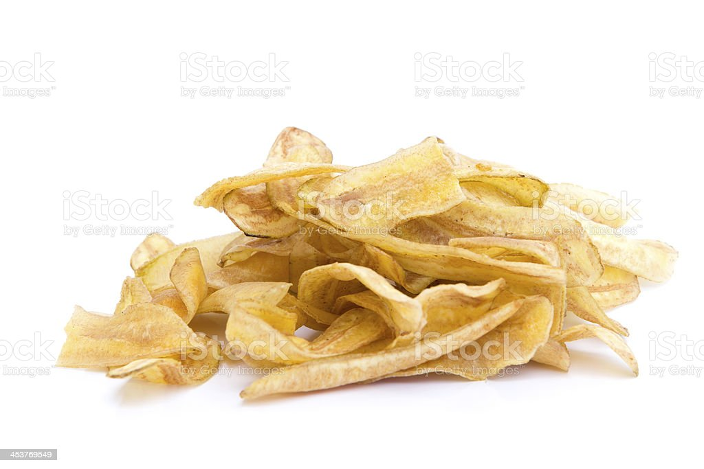 Banana chips isolated on white background stock photo