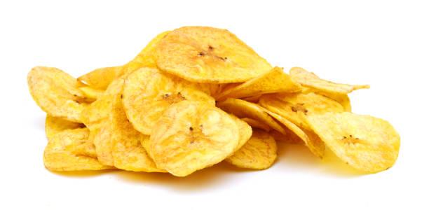 흰색 바탕에 바나나 칩 - 플렌틴 바나나 뉴스 사진 이미지