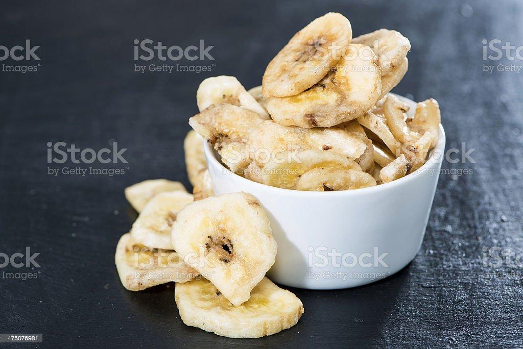 Banana Chips (close-up shot) stock photo