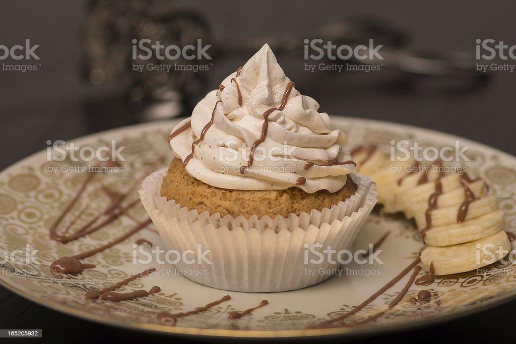 Banana Choclate Cupcake (Vegan) royalty-free stock photo