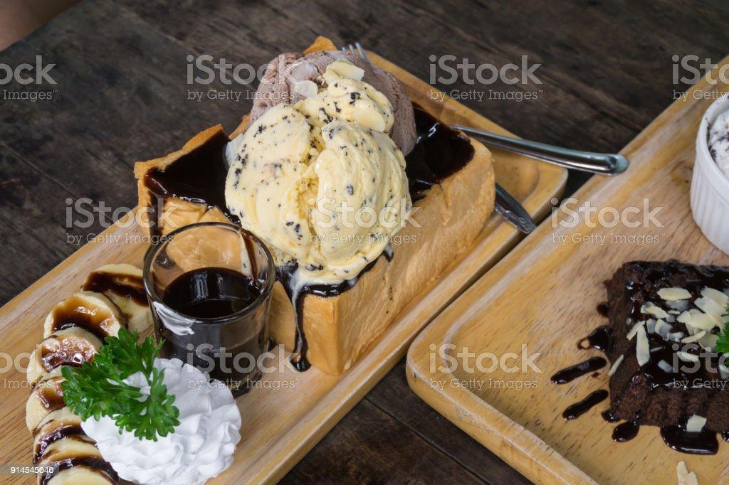 Banana Chocolate Honey Toast with Ice Cream stock photo