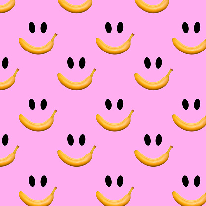 Banana fruit seamless pattern on pink background. Trendy colors Summer tropical exotic fruit pattern, concept. Nature background., gift wrapping paper, textile print design.