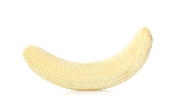 banaan geïsoleerd op witte achtergrond - geschild stockfoto's en -beelden