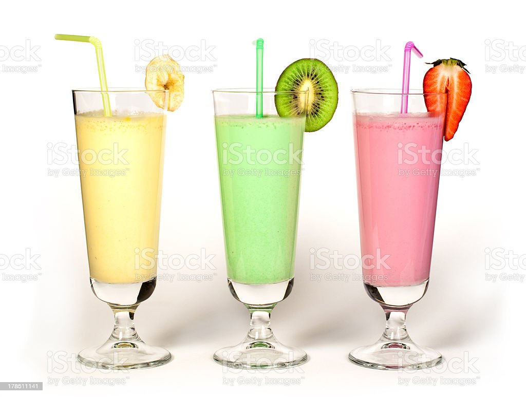 Banana, kiwi and strawberry milk shake, fresh fruits royalty-free stock photo