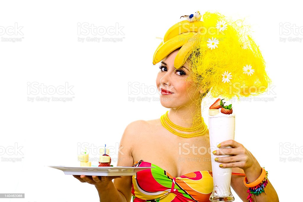Banana lady with tray of snacks and creamy cocktail royalty-free stock photo
