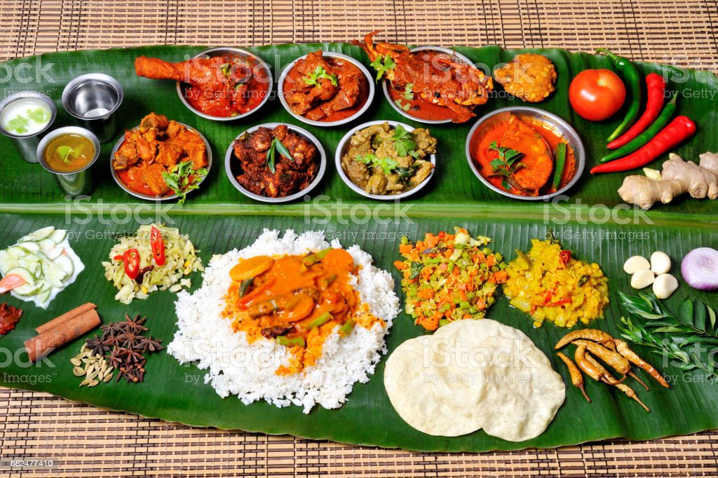 Banana leaf rice​​​ foto