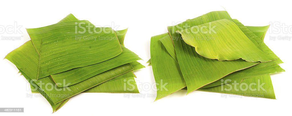 Banana leaves for wrapping or serving food as ecological dishwar stock photo