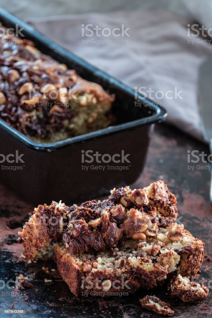 Banana loaf cake stock photo