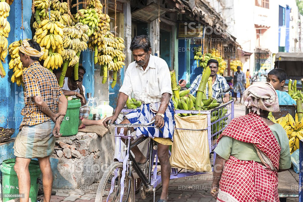 Banana market stock photo