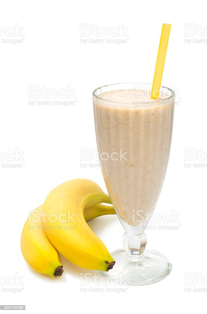 banana milk smoothie on white background stock photo