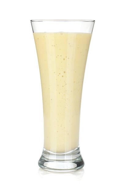 Banana milk smoothie stock photo