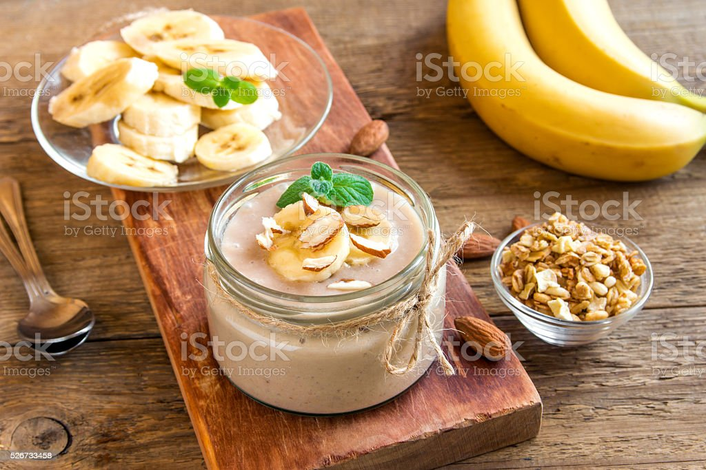 Banana mousse with almond stock photo