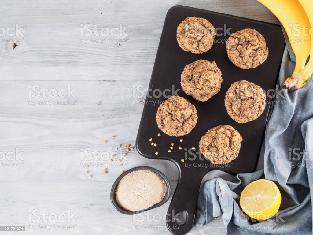 banana muffins with buckwheat flour and poppy seeds royalty-free stock photo