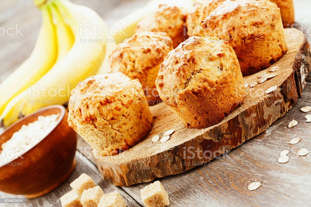 Banana muffins with oat flakes stock photo