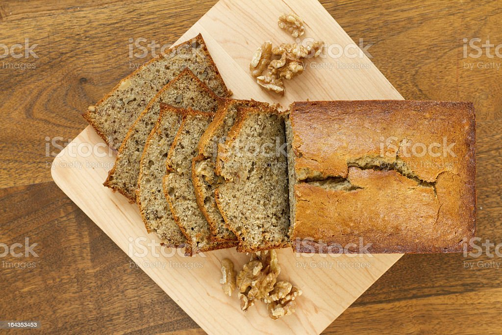 Banana nut bread - overhead stock photo