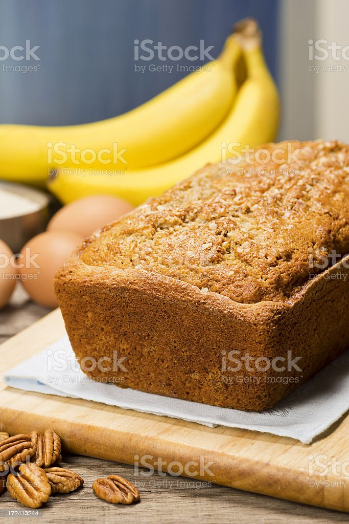 Banana Nut Bread with Ingredients stock photo
